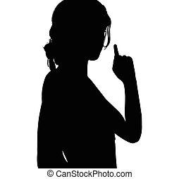 女 シルエット, 指すこと, 手, 指, ジェスチャー, 上向きに