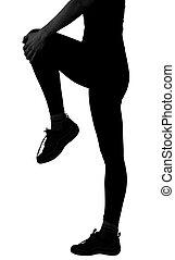 女 シルエット, 背景, 足, 隔離された, 保有物, 練習, 白