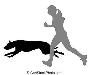 女, ジョギングする, 犬