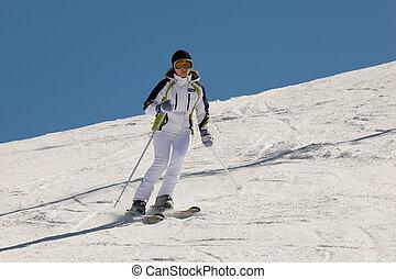 女, スキー
