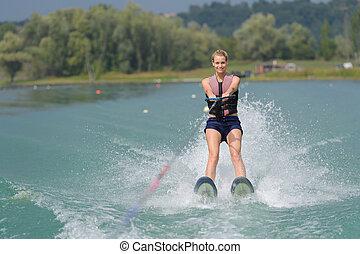 女, スキー, 水