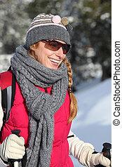 女, スキー, 若い, 休暇