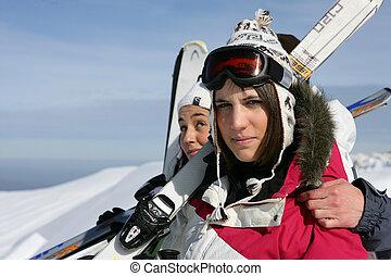 女, スキー, 2, 良い時間, 休日, 持つこと