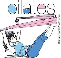 女, スケッチ, pilates, バンド, 抵抗, イラスト, ゴム, gym., ベクトル, フィットネス, ...