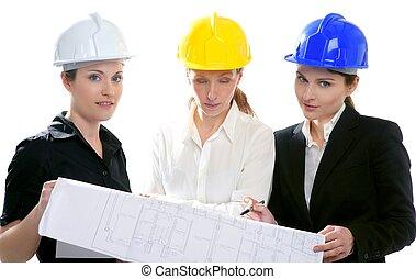 女, スタジオ, 隔離された, 建築家, 仕事