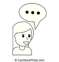 女, スピーチ, 黒, 白, 泡, 漫画