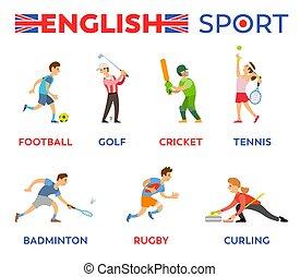 女, スポーツ, ベクトル, 英語, 活動的, 遊び, 人