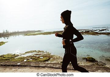 女, スポーツ, muslim, ランナー, 屋外