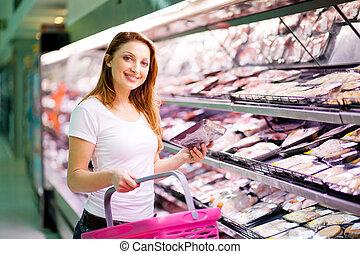 女, スーパーマーケット, 若い, 買い物