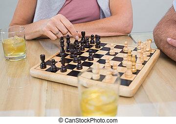 女, セクション, 中央の, チェス, 遊び, 人
