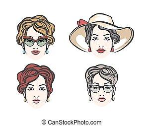 女, セット, ファッション, 顔