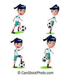 女, セット, ポーズを取りなさい, 特徴, プレーヤー, ベクトル, サッカー