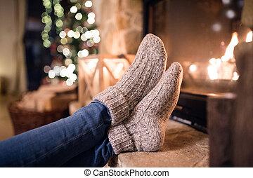 女, ソックス, フィート, よくわからない, 暖炉, クリスマス