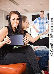 女, タブレット, クラブ, 提示, ボウリング, 若い, デジタル