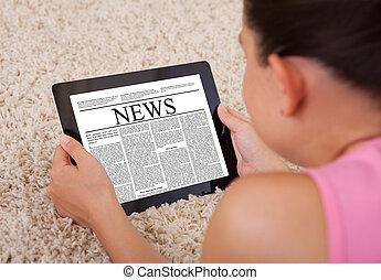 女, タブレット, デジタル, 若い, ニュース, 記事, 読書
