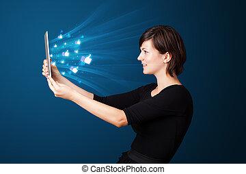 女, タブレット, ビジネス アイコン, 抽象的, 現代, 若い見ること, ライト, 社会