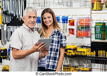 女, タブレット, 父, ハードウェア, デジタル, 店