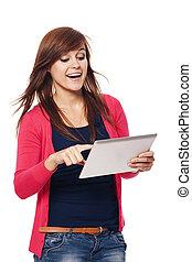 女, タブレット, 若い, デジタル, 使うこと, 幸せ