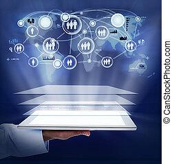 女, タブレット, computer., 手