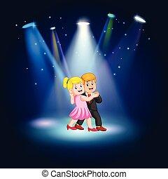 女, ダンス, 若い, タンゴ, 黒, かなり, スーツ, 人, ステージ