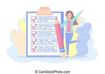 女, チェックリスト, 印, 計画, 計画, テキスト