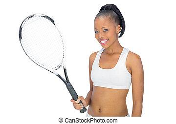 女, テニス, 保有物, ラケット, 微笑, スポーツウェア