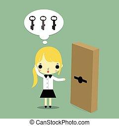 女, ドアの キー