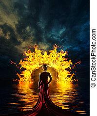 女, ドア, 地獄の, 上品