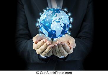 女, ネットワーク, ビジネス, 世界的である, 手, 接続, デザイン, 保有物