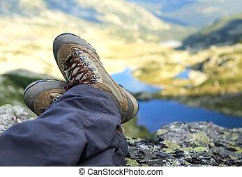女, ハイカー, ブーツ, 休息, 山の ピーク