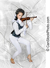 女, バイオリンを演奏すること, 音楽家, 美しい
