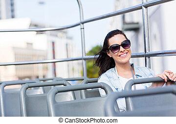 女, バス, 上, 若い, 魅力的, 開いた