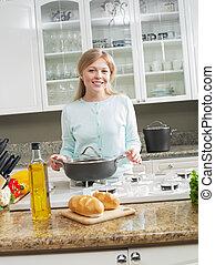 女, パンケーキ, 料理, 若い, 環境, 肖像画, すてきである, 台所