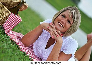 女, ピクニック, 若い, ワイン