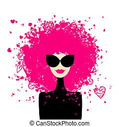 女, ファッション, あなたの, 肖像画, デザイン