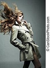 女, ファッション, レインコート, 若い, 肖像画, 美しい