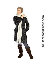 女, ファッション, 冬
