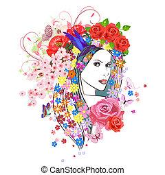 女, ファッション, 花, hair., 若い, 肖像画, 美しい