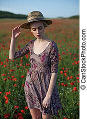女, ファッション, 農夫, 肖像画, 花, 赤