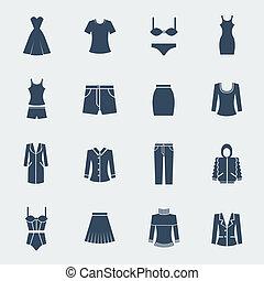 女, ファッション, 隔離された, 白, 衣服
