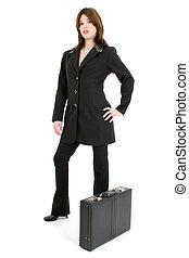 女, ブリーフケース, スーツ