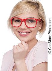 女, ブロンド, 彼女, 若い, glasses., 隔離された, 毛, 間, あご, 魅力的, 保有物, 微笑, 手, 白い赤, ガラス