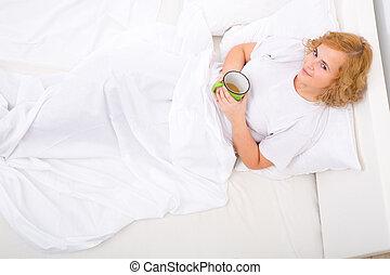 女 ベッド, 若い, 飲む コーヒー