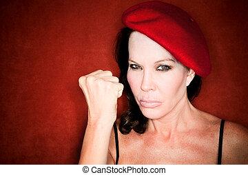 女, ベレー帽, かなり, 赤