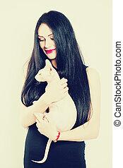 女, ペット, cat., ファッション, 保有物, 女の子