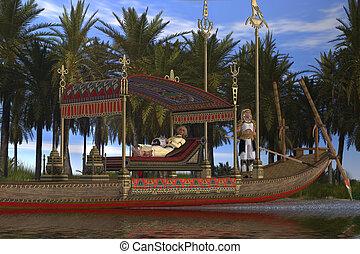 女, ボート, エジプト人