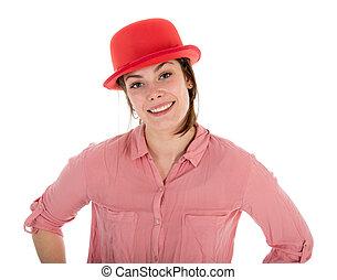女, ボーリング競技者, 上に, 隔離された, かなり, 白い赤