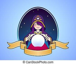 女, ボール, 漫画, 金銭出納係, 水晶, シンボル, illustration., かわいい, 幸運