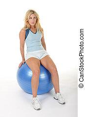 女, ボール, 練習