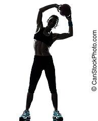 女, ボール, 試し, フィットネス, 運動